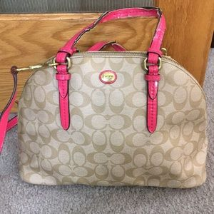 💕 Coach tan pink jacquard medium satchel shoulder